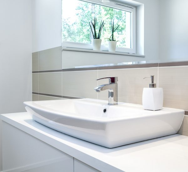 An image showing a modern sink in a stylish bathroom installed by EGP Plumbers bathroom fitters in Oakham