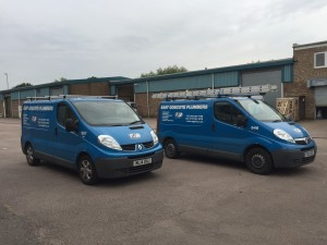An image of two of the vans that are used by EGP Plumbers