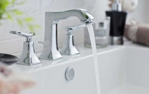An image of a new bathroom sink with silver taps that have been fitted by EGP Plumbers