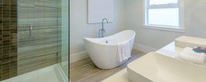 An image showing a modern bathroom suite with fully working plumbing