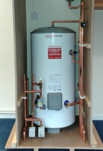 An image showing a hot water cylinder setup installed by EGP Plumbers