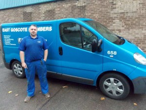 An image of an EGP Plumbers emergency plumber standing by fully livered company van