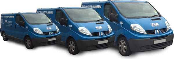 An image of a fleet of East Goscote Plumbers' vans