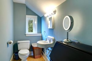 An image of a small bathroom with blue walls, a white sink and toilet that has been fitted by EGP Plumbers