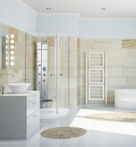 An image showing a tiled bathroom installed by EGP Plumbers in Market Harborough