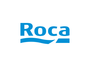An image of a blue Roca logo on a white background